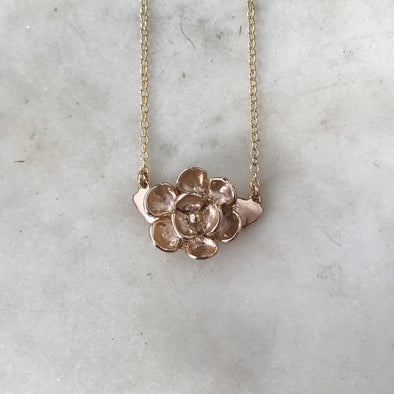 Handmade Bronze Magnolia Flower Pendant Necklace Attached on Both Sides