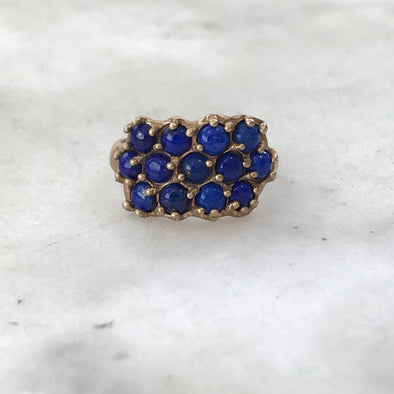 Handmade Bronze Lapis Ring set with 13 dark blue lapis stones