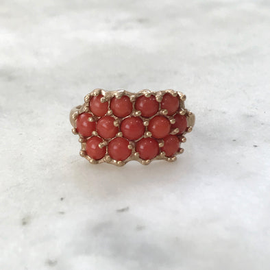 13 STONE CORAL RING