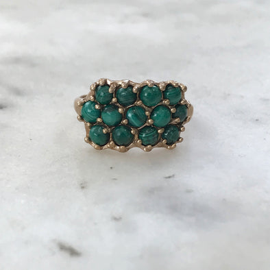 Handmade Bronze Ring set with 13 Green Malachite Stones