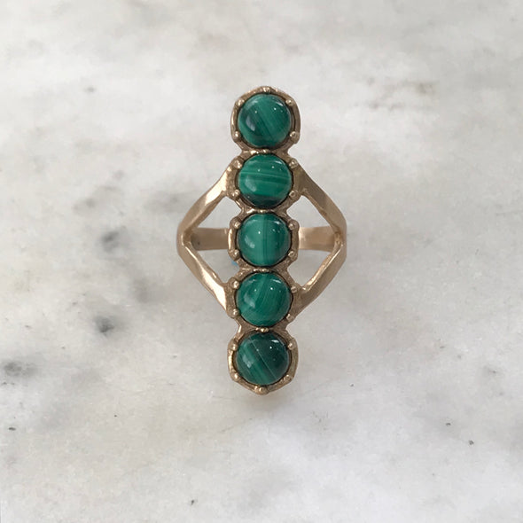 MALACHITE 5 STONE ROW RING - MIMOSA Handcrafted Jewelry