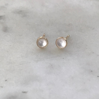 Gold-Filled Mother of Pearl Stud Earrings