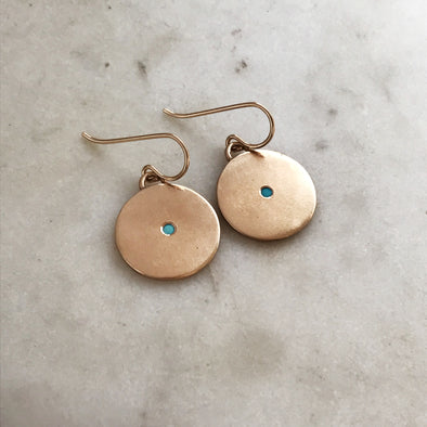 MINIMAL CIRCLE TURQUOISE EARRINGS