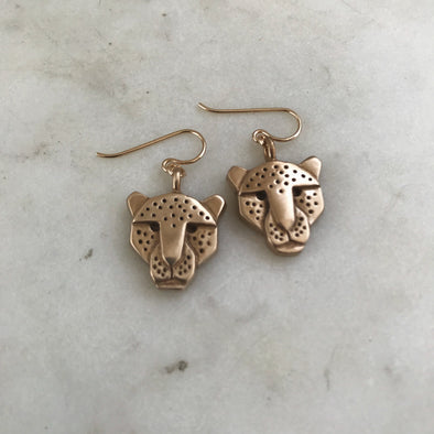 Handmade Bronze Jaguar Head Earrings on gold-filled ear wires