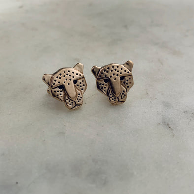 Handmade Bronze Jaguar Head Cufflinks