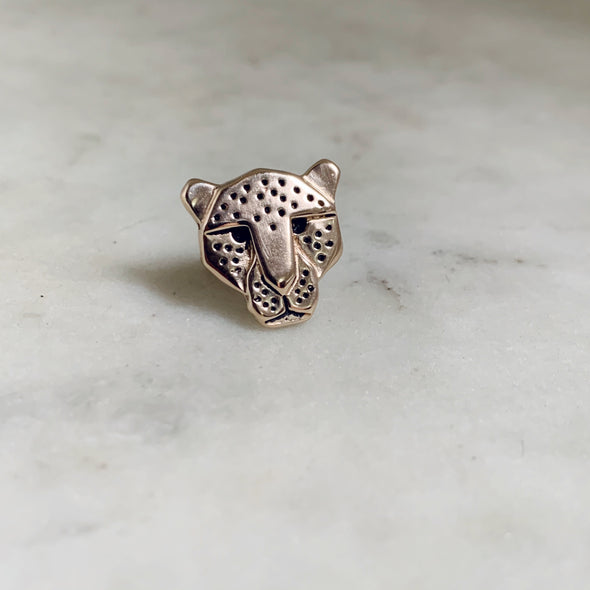 Handmade Bronze Jaguar Head Tie and Lapel Pin