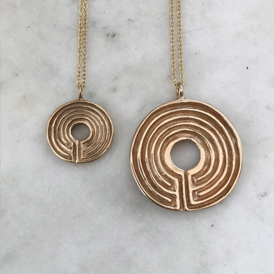 Handmade Bronze Small and Large Labyrinth Pendant Necklaces