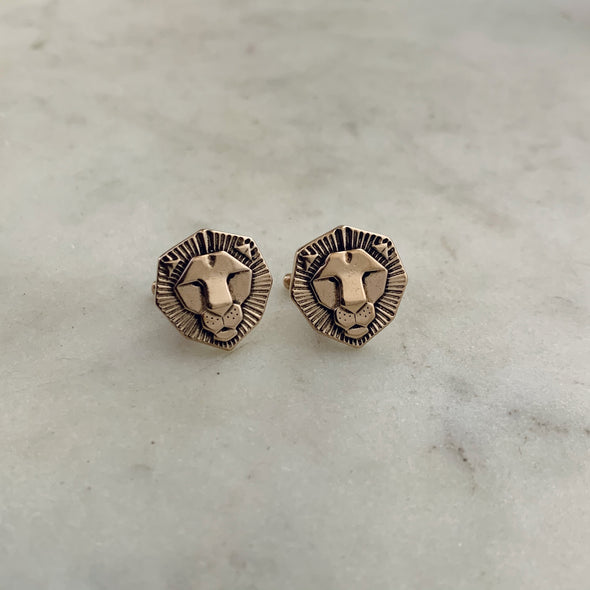 Handmade Bronze Lion Head Cufflinks