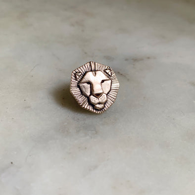 Handmade Bronze Lion Head Tie and Lapel Pin