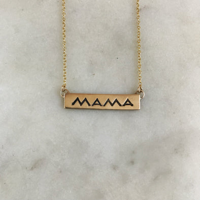 Handmade Bronze MAMA Bar Necklace