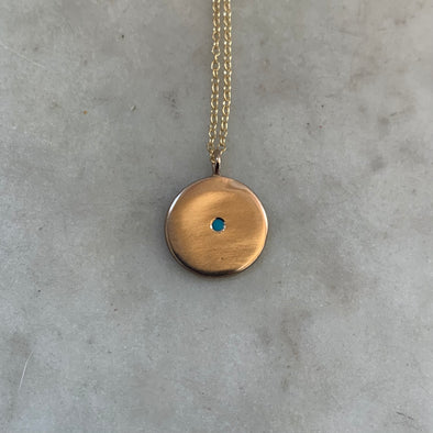 Handmade Bronze Minimal Circle Pendant Necklace with Small Turquoise Stone in the Center