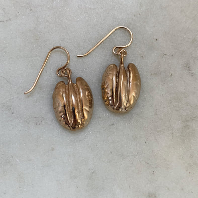 Handmade Bronze Pecan Earrings on gold-filled ear wires