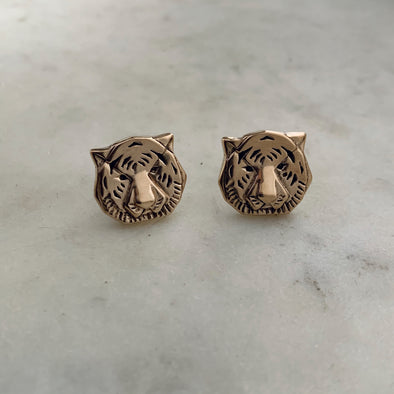 Handmade Bronze Tiger Head Cufflinks