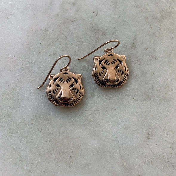 Handmade Bronze Tiger Head Earrings on gold-filled ear wires