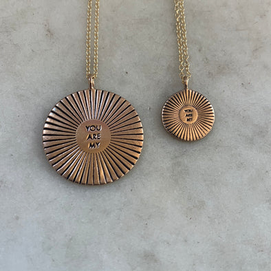 Handmade Bronze Large and Small You Are My Sunshine Pendant Necklaces