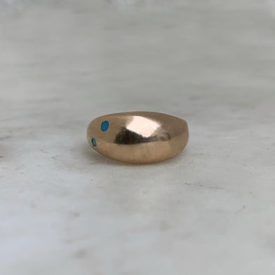 Handmade Bronze Amanda Ring with 2 Turquoise Stones
