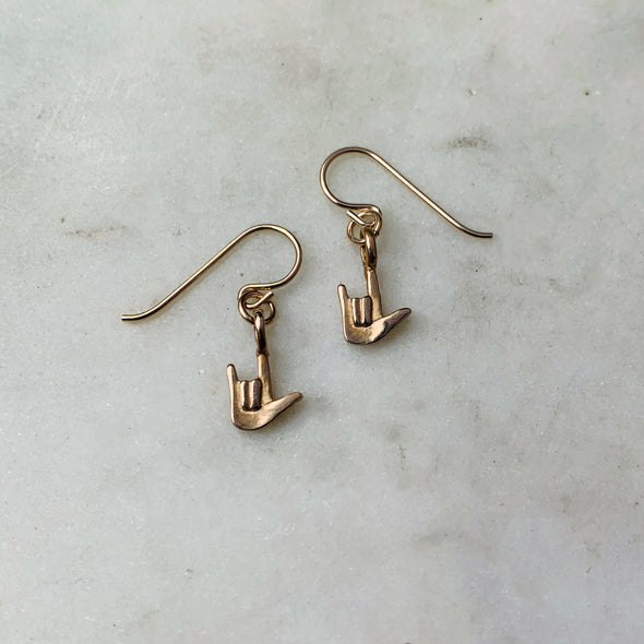 "Handmade Bronze American Sign Language ""I Love You"" Earrings with gold-filled earwires"