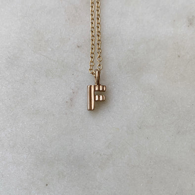 "Handmade Bronze Alphabet Letter ""F"" Charm Necklace"