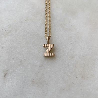 "Handmade Bronze Alphabet Letter ""Z"" Charm Necklace"