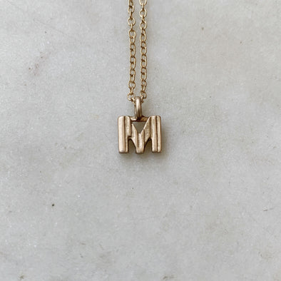 "Handmade Bronze Alphabet Letter ""M"" Charm Necklace"