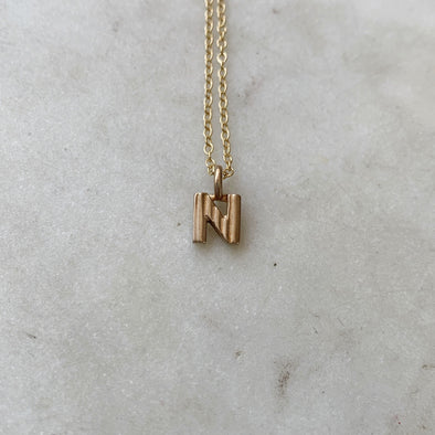 "Handmade Bronze Alphabet Letter ""N"" Charm Necklace"