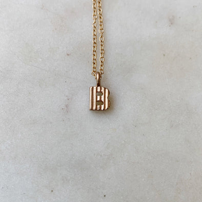 "Handmade Bronze Alphabet Letter ""B"" Charm Necklace"