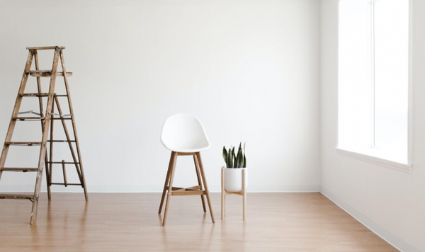 White chair in minimally decorated apartment