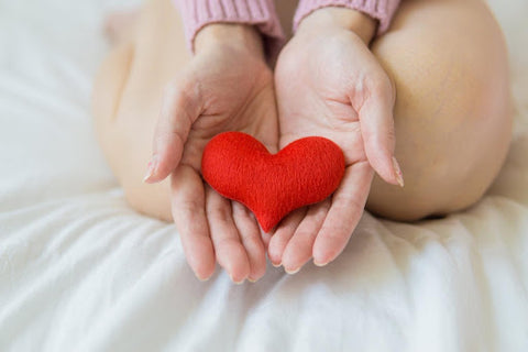 woman holding red stuffed heart