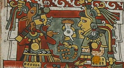 Ancient drawing of Aztecs drinking chocolate