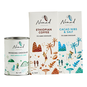 Nomad Hot Chocolate West Africa 45% Dark, chocolate bars cacao nibs and salt and Ethiopian Coffee, vegan, gluten and dairy free
