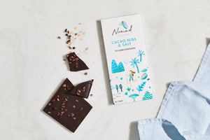 Nomad Chocolate Winter Indulgence Gift Set, Hot chocolate West Africa 45% Dark and organic Dominican 55% Dark, chocolate bar Cacao Nibs and Salt 72% Dark, chocolate buttons 72% Dark Esmeraldas, cooking chocolate, Vegan, Dairy and Gluten Free  Edit alt text