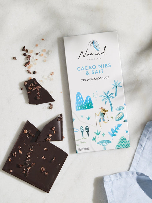 Nomad Chocolate Vegan, dairy and gluten free 72% dark chocolate and Cacao Nibs and Sea Salt