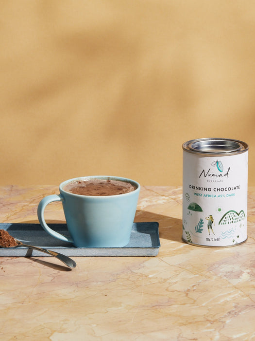 Nomad Chocolate West Africa 45% Dark, rich hot chocolate, vegan, dairy and gluten free