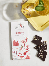 Load image into Gallery viewer, Nomad Chocolate Vegan, dairy and gluten free 72% dark chocolate and ginger organic