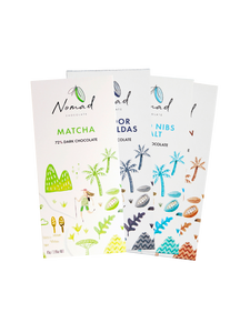 Nomad Chocolate Set of 4 Chocolate Bars Flavour Fusion, 72% Dark Chocolate, Ecuador Esmeraldas, Matcha, Ethiopian Coffee, Cacao Nibs and Salt, Vegan, organic, dairy and gluten free.