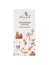 Load image into Gallery viewer, Nomad Chocolate Vegan, dairy and gluten free 72% dark chocolate with roasted Ethiopian Coffee, organic