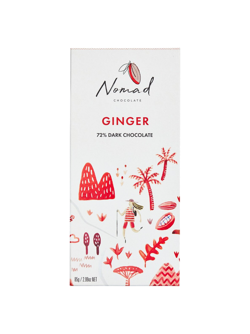 Nomad Chocolate Vegan, dairy and gluten free 72% dark chocolate and ginger organic