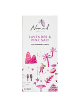Load image into Gallery viewer, Nomad Chocolate Vegan, dairy and gluten free 72% dark chocolate with Lavender and Pink Sea Salt