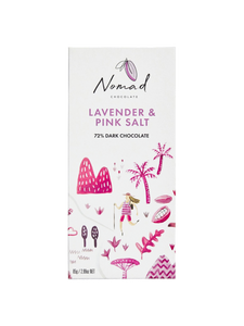 Nomad Chocolate Vegan, dairy and gluten free 72% dark chocolate with Lavender and Pink Sea Salt