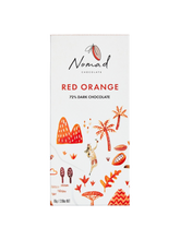 Load image into Gallery viewer, Nomad Chocolate Vegan, dairy and gluten free 72% dark chocolate with blood orange.