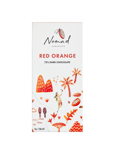 Nomad Chocolate Vegan, dairy and gluten free 72% dark chocolate with blood orange.