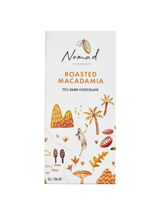 Nomad Chocolate Vegan, dairy and gluten free 72% dark chocolate with roasted Macadamia
