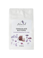 Load image into Gallery viewer, Nomad Chocolate Vegan, dairy and gluten free 72% dark chocolate buttons baking chocolate