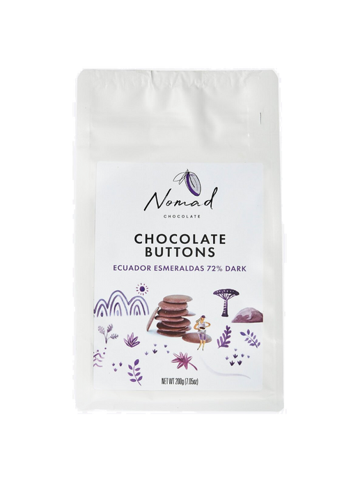 Nomad Chocolate Vegan, dairy and gluten free 72% dark chocolate buttons baking chocolate
