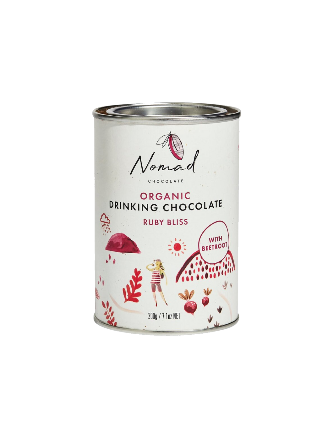 Nomad Chocolate Dark hot chocolate with spices and beetroot, vegan, organic, dairy and gluten free hot chocolate.