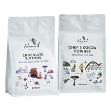 Load image into Gallery viewer, Nomad Chocolate Chef's cocoa powder 100% Dark, Dominican, Chocolate Buttons Ecuador Esmeraldas 72% Dark, baking, cooking chocolate, couverture, vegan, dairy and gluten free