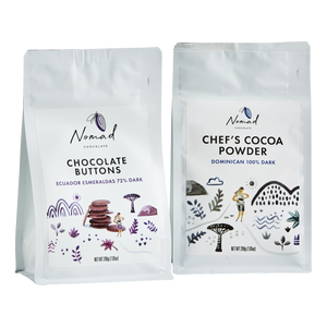 Nomad Chocolate Chef's cocoa powder 100% Dark, Dominican, Chocolate Buttons Ecuador Esmeraldas 72% Dark, baking, cooking chocolate, couverture, vegan, dairy and gluten free