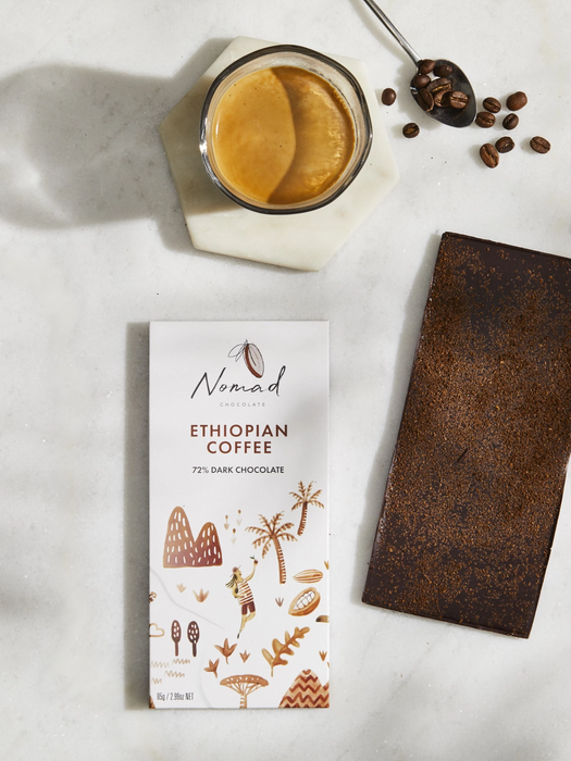 Nomad Chocolate Vegan, dairy and gluten free 72% dark chocolate with roasted Ethiopian Coffee, organic