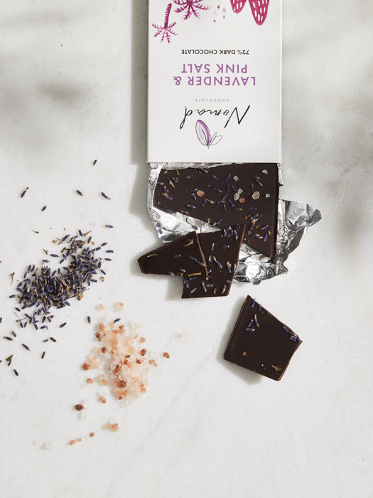Vegan, dairy and gluten free dark chocolate with lavender and pink salt.