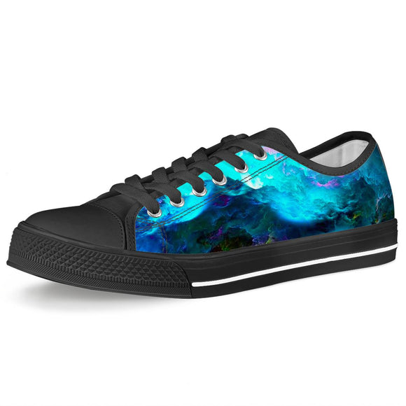 Dream Waves - Black Low Top Canvas Shoes